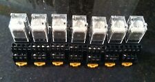 LOT OF (7) OMRON MY4N-D2 RELAYS WITH 2-M4X10 BASES