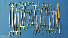 SET OF 18 PCS GOLD HANDLE GENERAL CANINE SPAY PACK SURGICAL INSTRUMENTS KIT