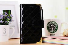 Black Glossy Wallet Clucth Case W Gold Trim & Strap For Samsung Galaxy S4 Gift