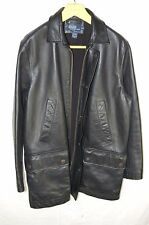 POLO RALPH LAUREN  MEN ZIP UP HEAVY LEATHER  LONG JACKET SIZE M- L
