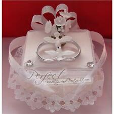 Silver Ring Cushion Wedding Cake Topper Decoration With Doves and Flowers
