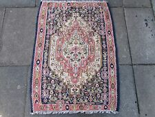 Fine Hand Made Traditional Persian Oriental Wool Blue Pink Small kilim 101x74cm