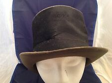 "Antique Stove Pipe Top Hat Used 6.25"" tall Beaver All Black Size 5 1/4  Men's"