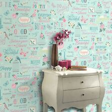 RASCH INSPIRATIONS WALLPAPER - TEAL & PINK 216714