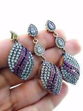 STERLING 925 SILVER RUBY 3 PIECE SET TURKISH HANDMADE JEWELRY S2033