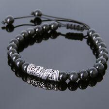Men's Braided Bracelet 6mm Black Obsidian Sterling Silver Dragon Charm 788M