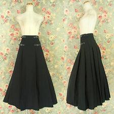Women Gothic Lolita Punk Long Pleated Skirt Black Cotton Blend Steampunk
