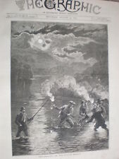 Eel Spearing on the Scotch Border 1879 old print
