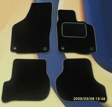AUDI S4 S LINE 2008 ON  BLACK TAILORED CAR MATS WITH SILVER EDGE + 4 ROUND CLIPS