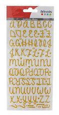 Alphabet autocollant pailleté - Doré - 87 LETTRES 3D SIGNES FAIRE PART MARIAGE