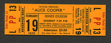 1972 Alice Cooper unused full concert ticket Killer Tour Under My Wheels Denver