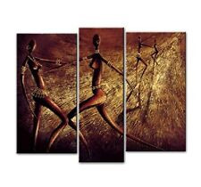 Brown Modern Canvas African Inspired Art Office Wall Decor Abstract Home Accent