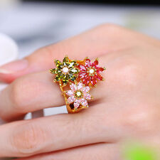 Fashion Lady's Flower 18k Yellow Gold Plated Colorful Cocktail sapphire Ring