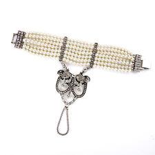 Bracelet Argenté Multi Rang Perle Art Deco Fin Vintage Original Mariage CT4