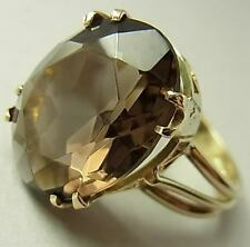 LARGE, IMPRESSIVE VINTAGE 9CT GOLD & SMOKY QUARTZ DRESS RING
