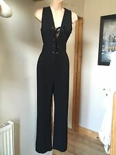 Cameo Rose Black V Neck with Tie Jumpsuit with Wide Leg Palazzo Trousers Size 12