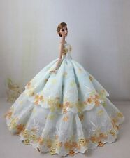 Fashion Royalty Princess White Embroidery Dress Gown Ballgown For Barbie Doll