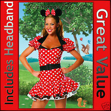 LADIES MINNIE MICKEY MOUSE FANCY DRESS COSTUME  8 10 12  MEDIUM ONE SIZE