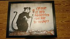 Lap Tray Bean Bag Padded Dinner/Laptop Banksy Rat Out of Bed Graffiti Wall Art
