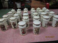 Vintage Goebel Hummel Set of 24 Spice Jars with Wood Rack Plus Salt & Pepper
