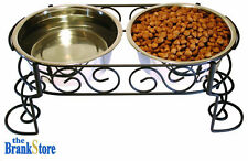 Double Raised Dog Bowl Elevated Pet Feeder Waterer Cat Puppy Food Water Dish