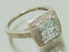sR102 Solid 9K White Gold NATURAL Aquamarine & Diamond ENGAGEMENT Ring size T