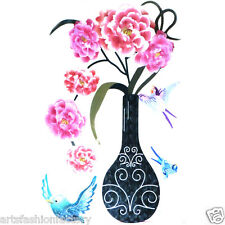 3D Pink Roses Vase Sticker Art Design Decal Wall Decor Stickers Home Decor Mural