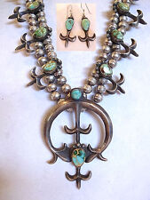 Vintage NAVAJO CAST Sterling Silver Turquoise SQUASH BLOSSOM Necklace & EARRINGS