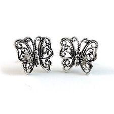 925 Sterling Silver Filigree Butterfly Standard Post Stud Earrings