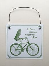 Life's a Journey Enjoy the Ride Owl Hanging Plaque Sign Retro Cute Home Gift