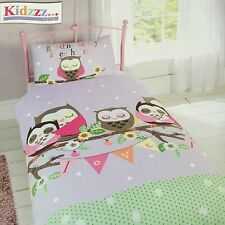 Girls Children Sweetheart Owl Goodnight Love Single Duvet Cover Set Pink White