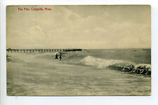 Craigville (Barnstable) MA Mass people playing in surf, pier, waves, early