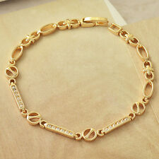 Womens Shiny 9K Solid Gold Filled Cubic Zirconia Bracelet Hot Wholesale
