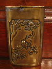 Antique Japanese Brass Match Safe w/ Bird & Fish Decoration