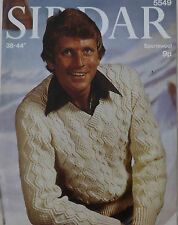 """Vintage Knitting Pattern Mens Long Sleeve Aran Cable Jumper/Sweater 38-44"""" S5549"""