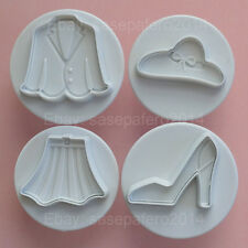 Jacket, skirt, hat, high heel shoe plunger cookie cutter with stamp. 4 pcs.set.