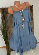 NEU ITALY SOMMER EMPIRE SEIDEN TUNIKA STUFEN KLEID SILK MIX DRESS BLAU 36-40