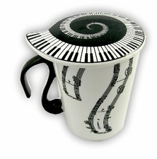 Musical Mug with Lid - Vertical Notes - Music Themed Gifts - Mug for Music Lover