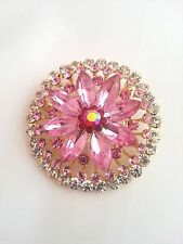 LARGE PINK ALLOY RHINESTONE CRYSTAL DIAMANTE FLOWER PIN WEDDING PARTY BROOCH