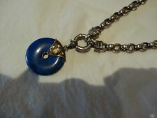 Gorgeous Silver Belcher Chain with Bolt Fastener and Lapis & Citrine Pendant