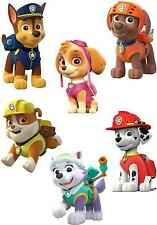 JOBLOT OF 6 PAW PATROL IRON ON T SHIRT TRANSFERS WHITE/LIGHT FABRICS