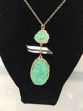 NWOT Green And Clear Quartz Drusy Druzy Drop Long Necklace Anthropologie