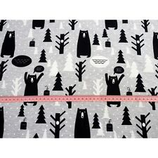 Printed Stretch Jersey Knit Fabric -Bears - 92% Cotton 8% Elastane HalfMetre