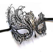 Luxury Black Swan Venetian Style Metal Filigree Masquerade Mask Diamante Crystal