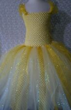 Little Girl tutu dress/ Belle/ Beauty and the beast/5-8 kids tea/ calf length