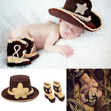 Baby Boys Girls Crochet Knitted Beanie Bowler Hat / Shoes Boots Costume