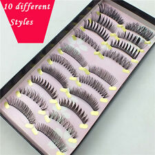 10 Pairs Different Styles From Top TO Bottom false Fake Eyelashes Natural Thick