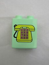 Rare Lego Duplo YELLOW TELEPHONE PHONE for HOME OFFICE WORK HOUSE PRINTED BLOCK