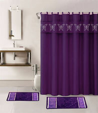 4PC PURPLE BUTTERFLIES BATHROOM SET BATH MATS SHOWER CURTAIN FABRIC HOOKS
