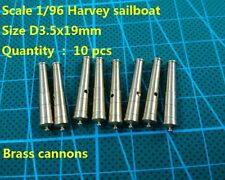 CNC brass cannons upgrade parts for Scale 1/96 HARVEY 1847 ship model 10 pcs/lot